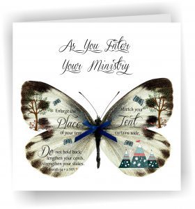 As You Enter Your Ministry Butterfly Handmade Greetings Card Christian