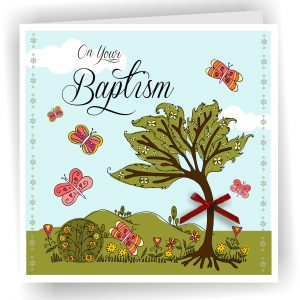 Baptism Tree Greetings Card Pinks