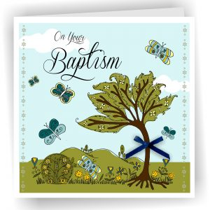 Baptism Tree Blue Greetings Card