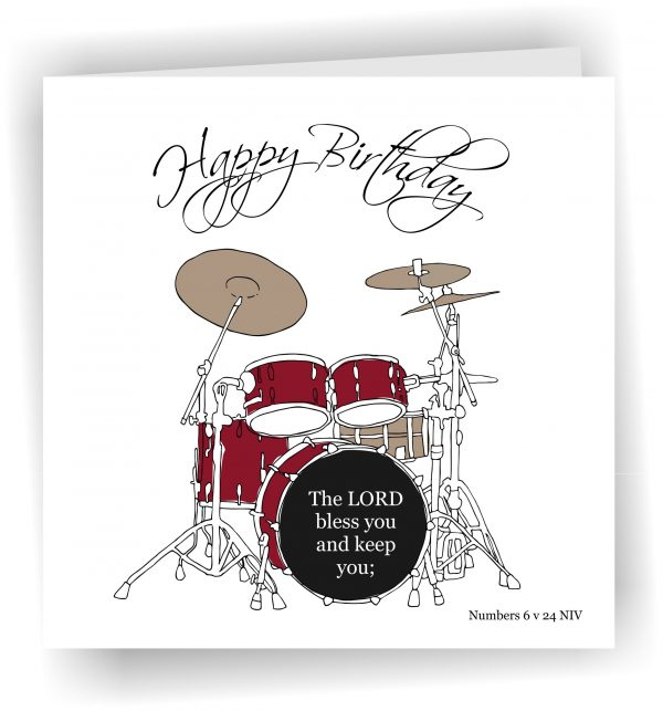 Birthday Card Drums Handmade Greetings Card