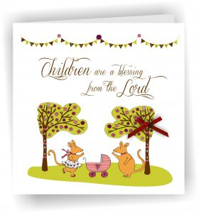 Children Blessing Girl Pink Christian Greetings Card