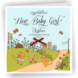 New Baby Girl Handmade Christian Greetings Card