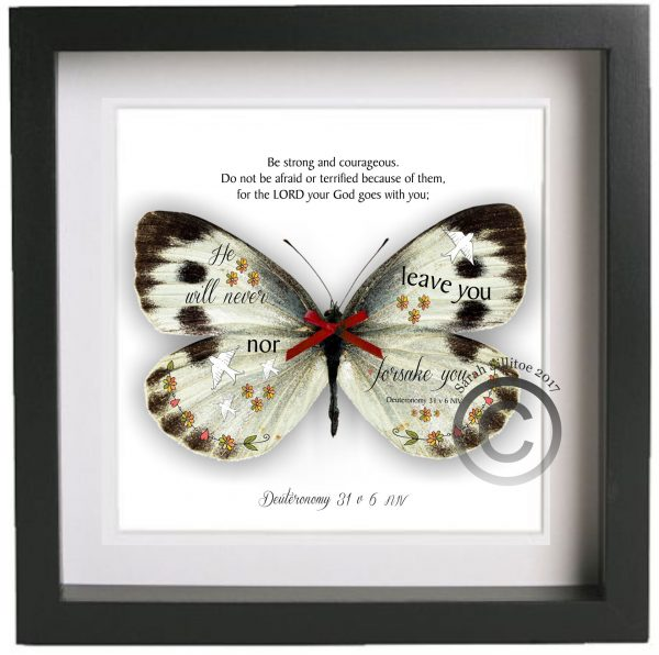 "Framed Print 10"" x 10"" Deuteronomy 31 v 6 Illustrated Bible Verse 3D Handcut & Decorated Butterfly"