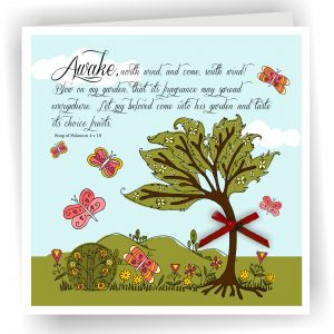 Christian Art Card Awake North Wind Song of Solomon 4 v 16