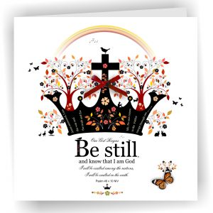 Handmade Christian Art Card Be Still Psalm 46 v 10