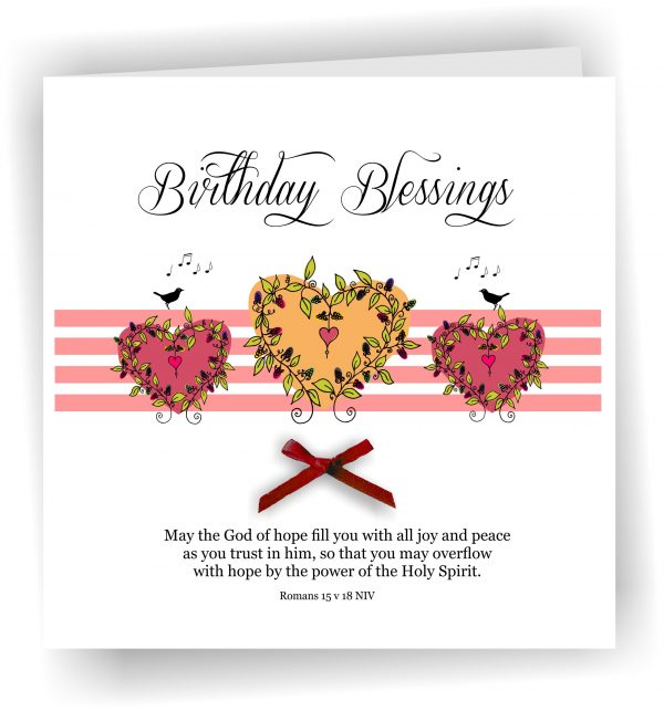 Handmade Christian Birthday Greetings Card With Pink Hearts Romans 15 v 18