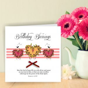 Handmade Christian Birthday Greetings Card With Pink Hearts Romans 15 v 18 Bow