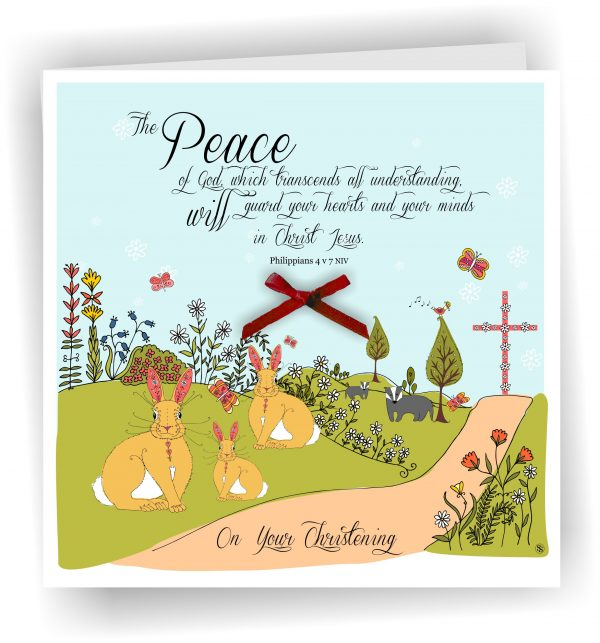 Christening Philippiand 4 v 7 Christian Greetings Card