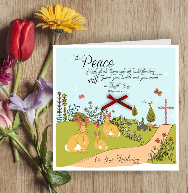 Christening Card Rabbits & Cross