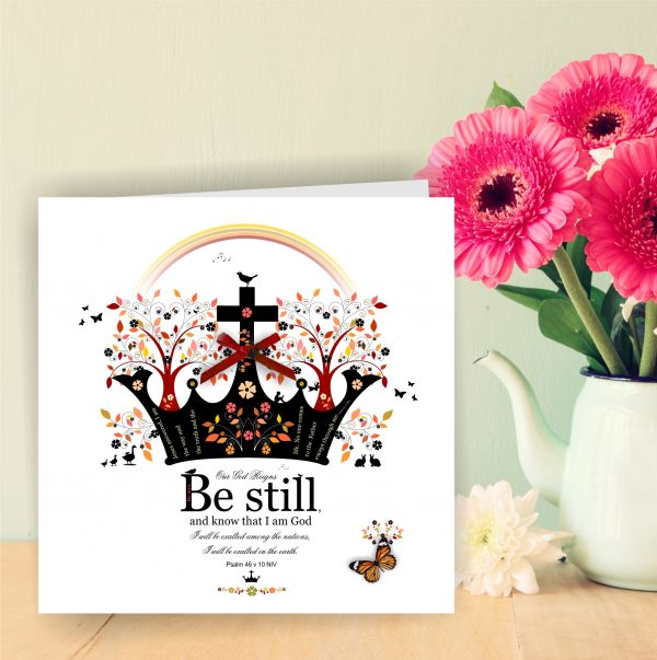 Handmade Christian Art Card Be Still Psalm 46 v 10 With Crown.
