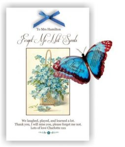 Forget me not Seed packet Teachers Gift With 3D Butterfly