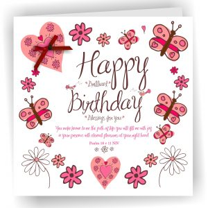 Happy Birthday Hearts Christian Girls Birthday Card