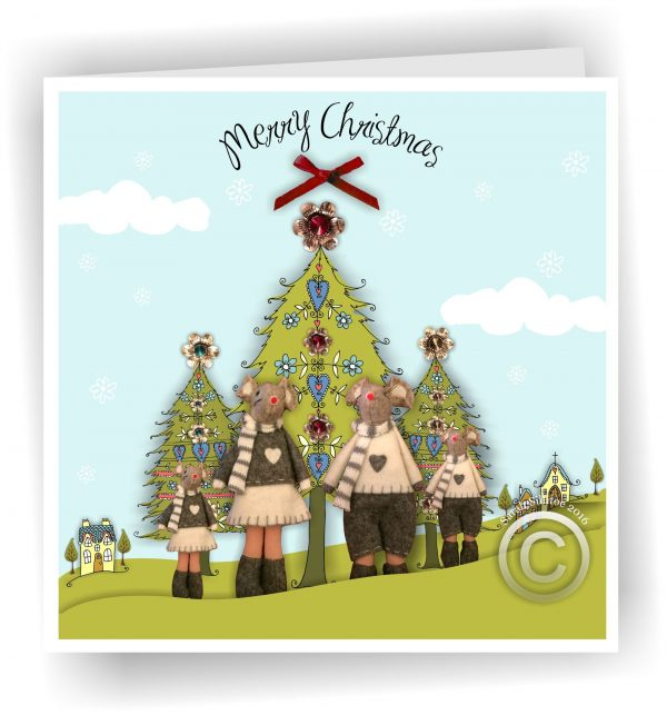 Merry Christmas Mouses Greetings Card