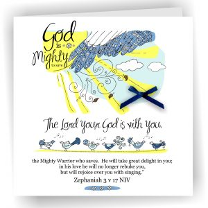 Handmade Christian Art Card Mighty To Save Zephaniah 3 v 17