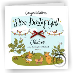 New Baby Girl Mice Greetings Card
