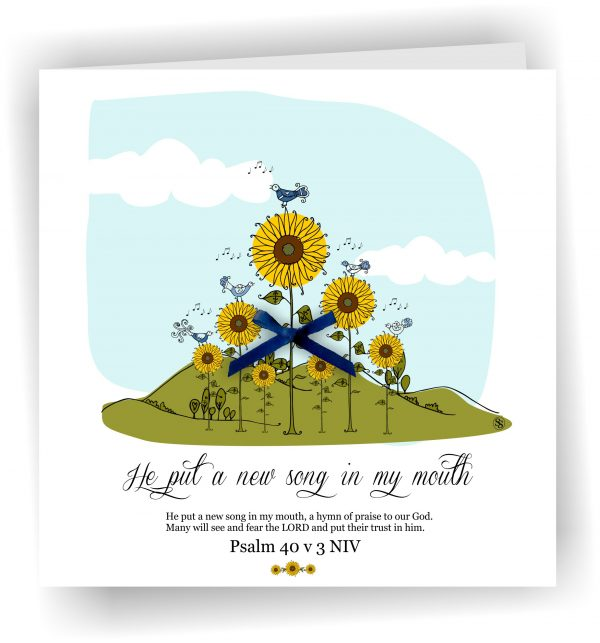 Handmade New Song Psalm 40 v 3 Christian Art Card With Sunflowers
