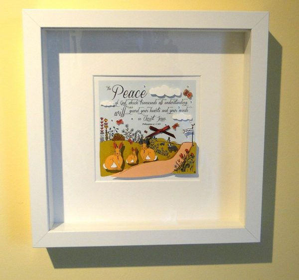 Philippians 4 v 7 Paper Cut Craft White Framed Art Print 1