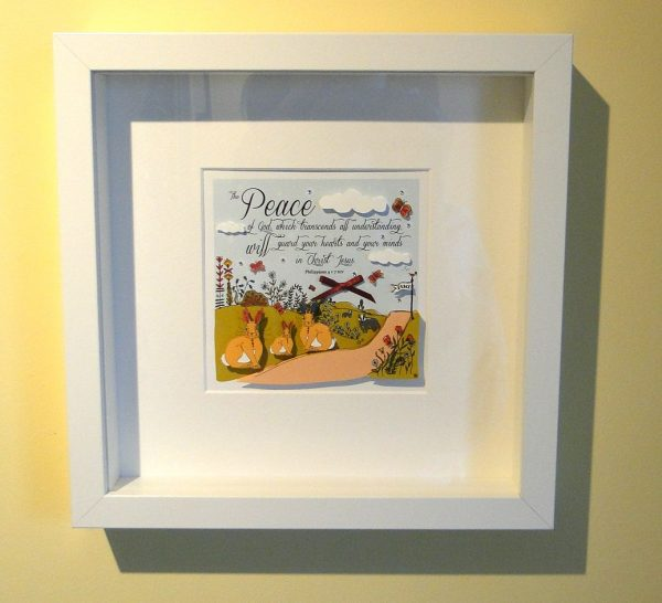 Philippians 4 v 7 Paper Cut Craft White Framed Art Print