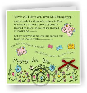 Handmade Christian Card Song of Solomon 4 v 7 Praying For You