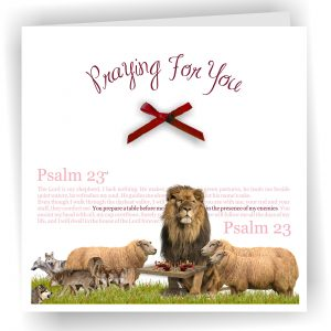Praying For You Lion and Lamb Psalm 23 Christian Art Card
