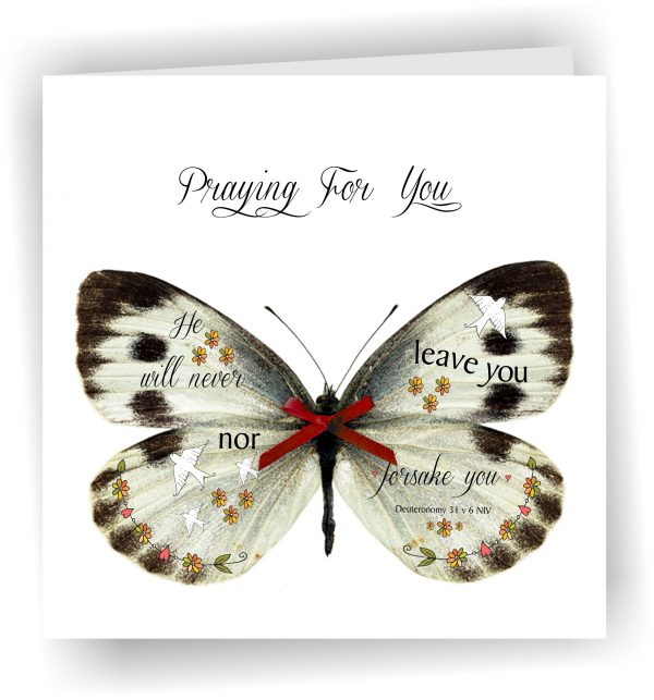 Praying for you Butterfly Christian Greetings Card