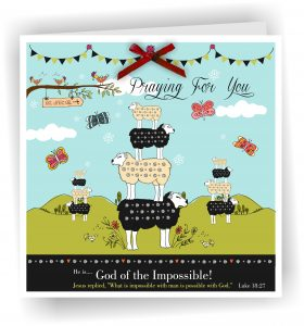 Sheep Praying For You Christian Greetings Card