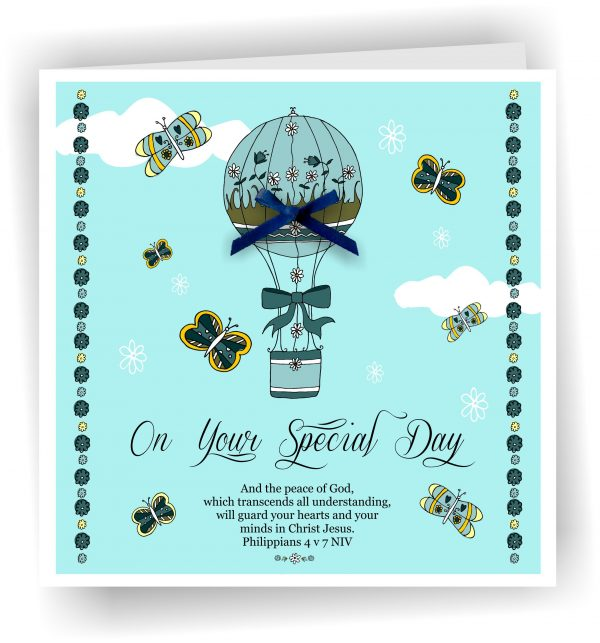 Special Day Blue Christian Greetings Card