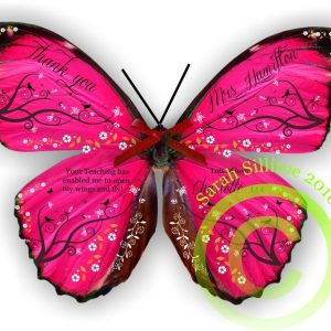 Teaching Assistant Teacher Personalised Butterfly 3D Print Gift Thank You Gifts Pink