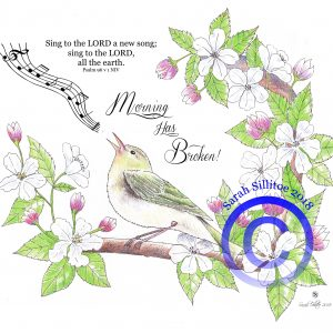 Singing Bird Psalm 96 v 1 Adult Colouring / Coloring In Sheet