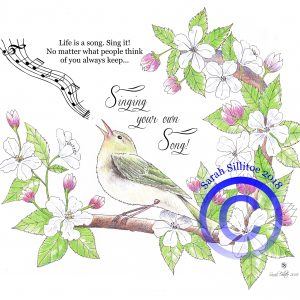 Singing Bird Sing Your Own Song Adult Colouring / Coloring In Sheet