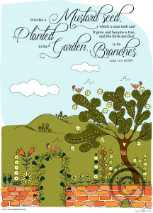 Faith Size Of Mustard Seed Adult Colouring In Sheet Bible Verse Illustration