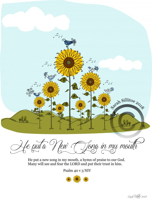 New Song Psalm 40 v 3 Christian Adult Coloring / Colouring In Sheet