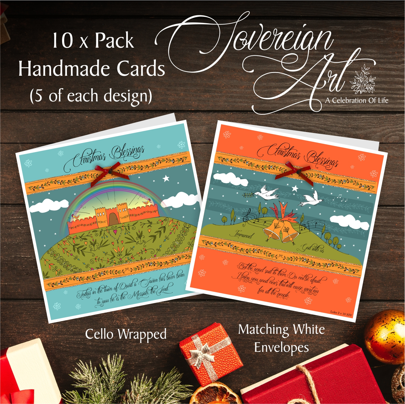 Pack of 10 Verse Inside Great Joy ESV by Just Cards Direct with Luke 2:10-11 Luxury Foiled Christmas Cards