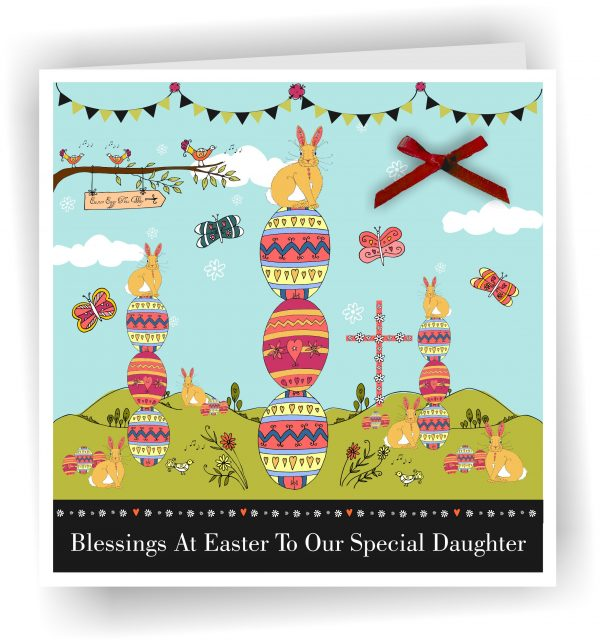 Easter Daughter Card With Bunnies and Eggs 2