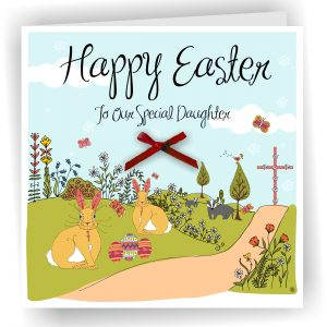Easter Daughter Card With Bunnies and Eggs