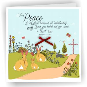 Peace of God with Rabbits Philippians 4 v 7 Christian Greetings Card With Cross