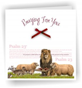 Psalm 23 with Sheep and Lion Christian Greetings Card Praying for You