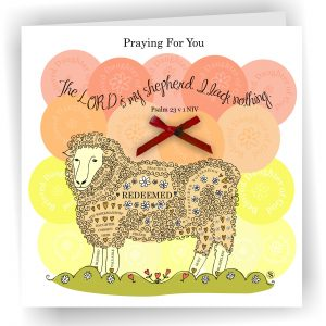 Sheep Praying For You Beloved Christian Greetings Card Psalm 23 v 1