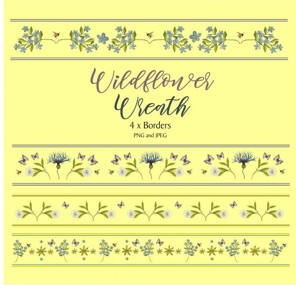 4 x Flower Borders Instant Download