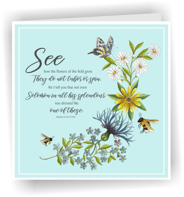 Card Bees and Wildflowers Matthew 6 v 28 to 29