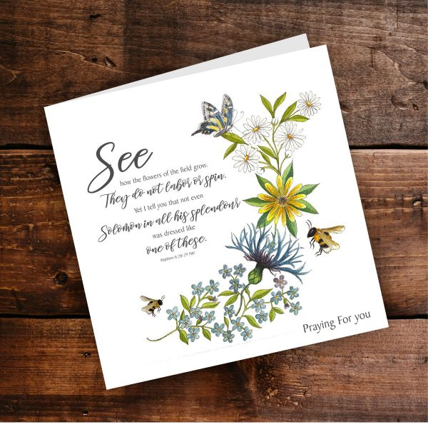 Card Bees and Wildflowers Matthew 6 v 28 to 29 Background Praying For You