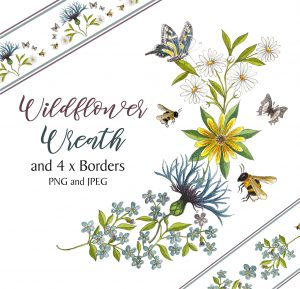 Flower Wreath and 4 Borders Instant Download Watercolour Floral PNG DIY Stationary 10