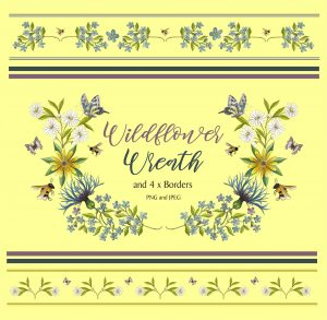 Flower Wreath and 4 Borders Instant Download Watercolour Floral PNG DIY Stationary 2