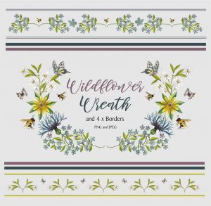 Flower Wreath and 4 Borders Instant Download Watercolour Floral PNG DIY Stationary 3