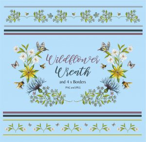 Flower Wreath and 4 Borders Instant Download Watercolour Floral PNG DIY Stationary 4