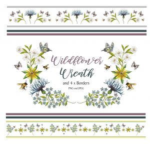 Flower Wreath and 4 Borders Instant Download Watercolour Floral PNG DIY Stationary 5