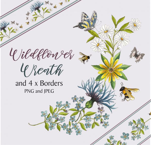 Flower Wreath and 4 Borders Instant Download Watercolour Floral PNG DIY Stationary 8
