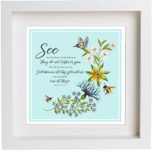 Framed Print Artwork Bees and Wildflowers Matthew 6 v 28 to 29