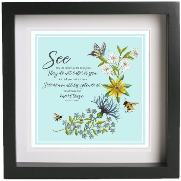 Framed Print Artwork Bees and Wildflowers Matthew 6 v 28 to 29 Black Frame