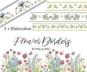 Flowers Instant Download Borders
